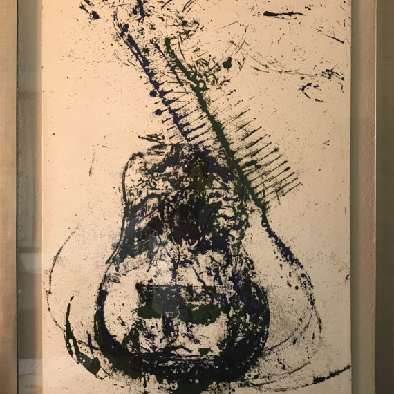 guitare-bleue-verte-noire-mouvementcom-art-galerie-nice